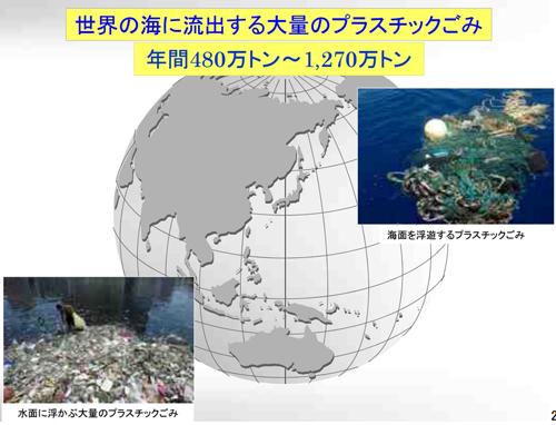 世界の海に流出する大量のプラスチックごみ