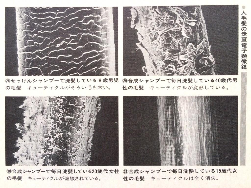 合成界面活性剤の人髪への塗布実験