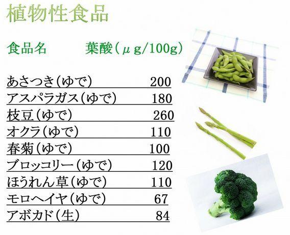 葉酸の多い植物性食品
