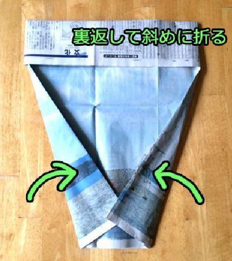新聞紙の手作りゴミ袋 作り方 (5)