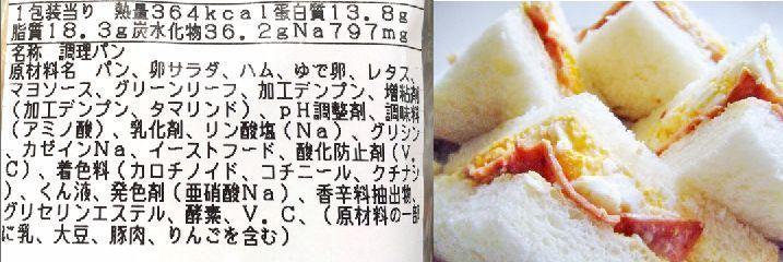 たまごとハムのサンドイッチ 原材料