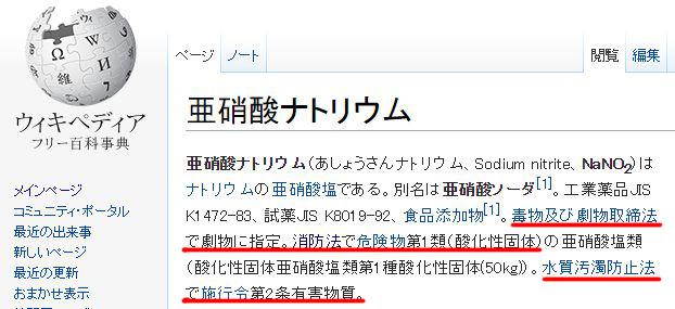 亜硝酸Na(亜硝酸ナトリウム)