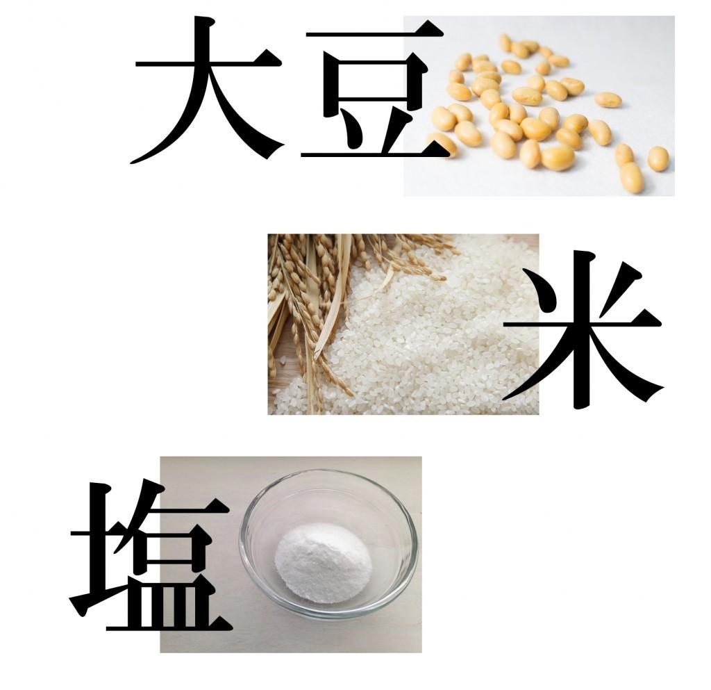 味噌の原料 大豆 米 塩